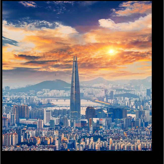 Модульная картина Величественный Сеул в лучах солнца