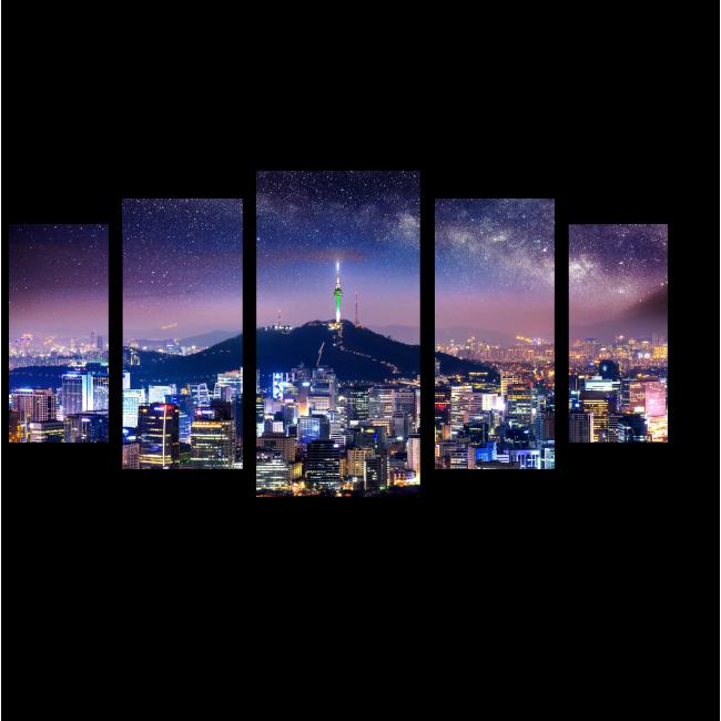 Модульная картина Звездная ночь над Сеулом