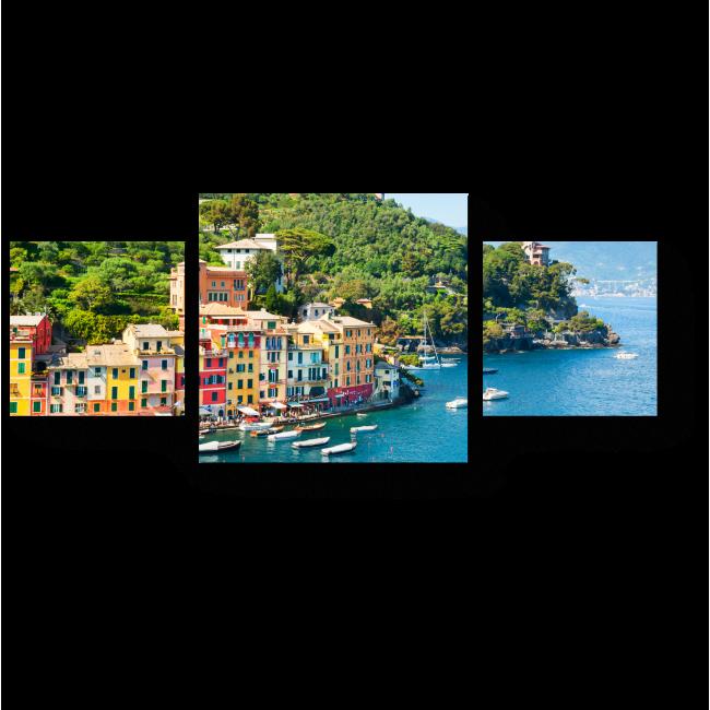 Модульная картина Морской берег с яркими домиками в Портофино