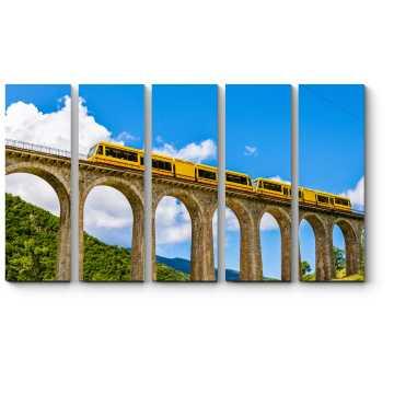 Модульная картина  Поезд Jaune на мосту Седжурн