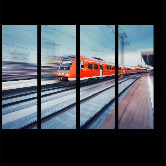 Модульная картина  Высокоскоростной красный пассажирский пригородный поезд