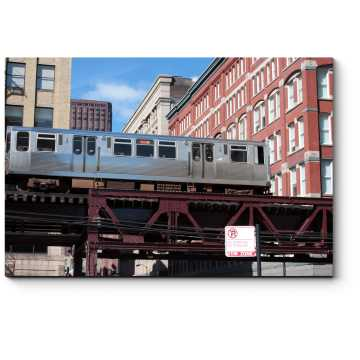 Модульная картина Пригородный поезд в Чикаго