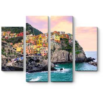 Модульная картина Красочные дома на скале над Средиземным морем