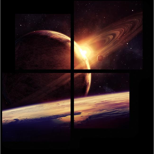 Модульная картина Планеты в пространстве