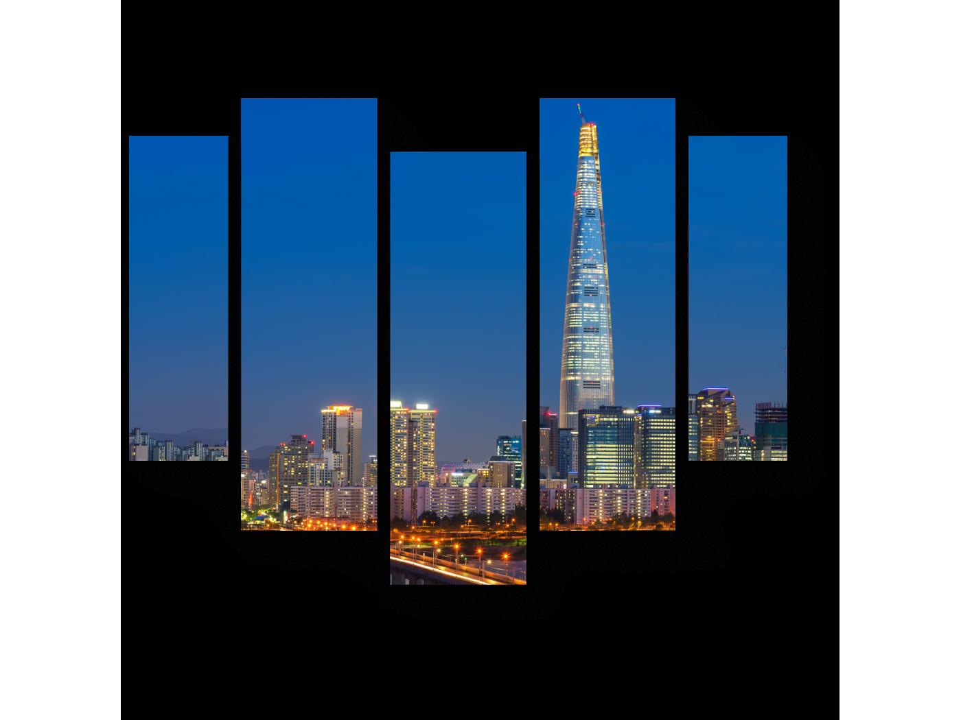 Модульная картина Сверкающий Сеул (101x82) фото