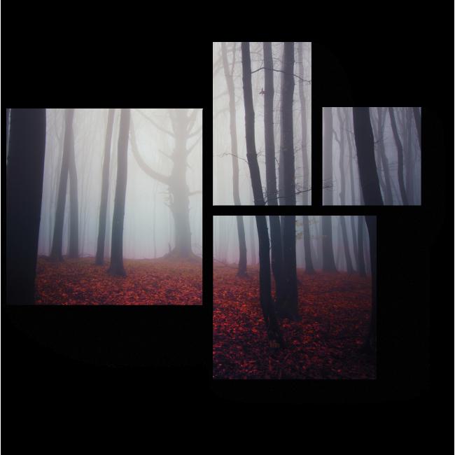 Модульная картина Осенний лес туманным утром