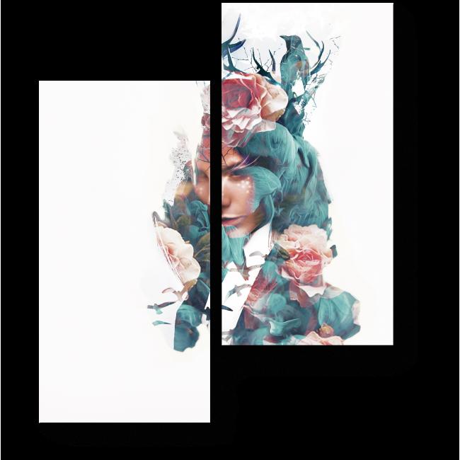 Модульная картина Девушка-мечтательница