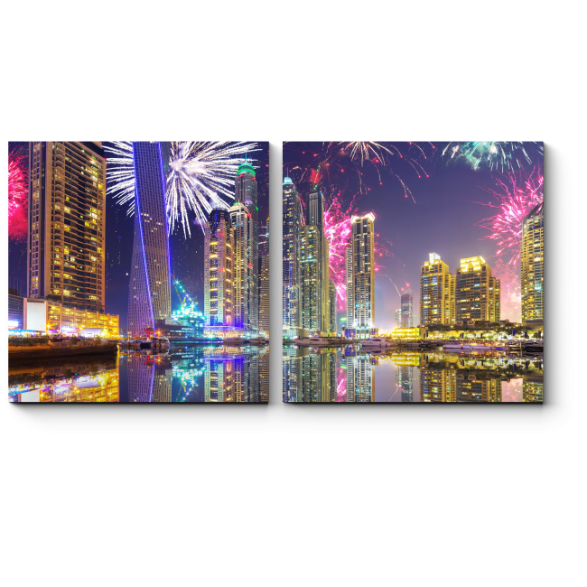 Модульная картина Сверкающий салют над Дубаем