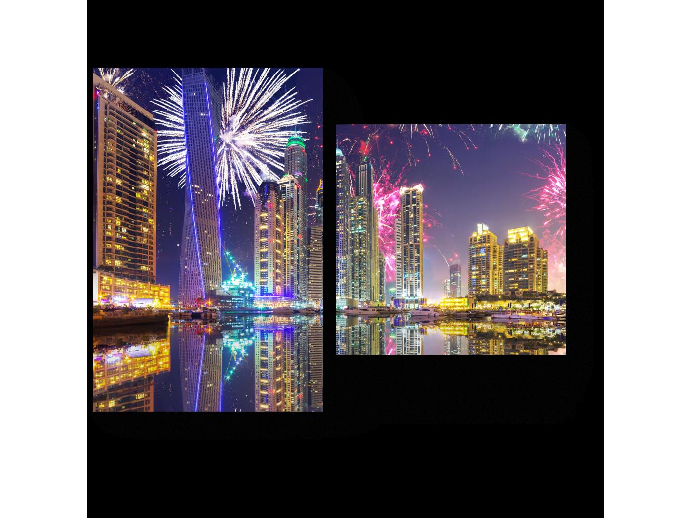Модульная картина Сверкающий салют над Дубаем (40x30) фото