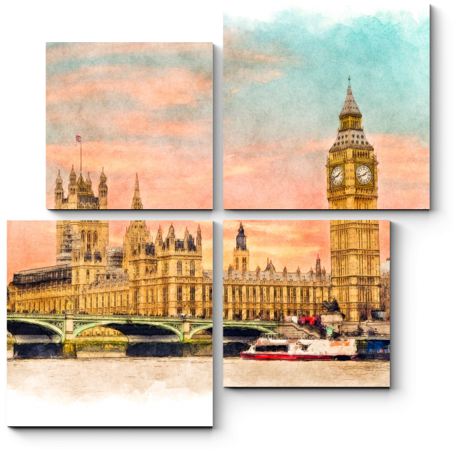 Модульная картина Закат над Лондоном