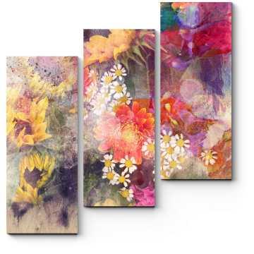 Модульная картина Подсолнухи и полевые цветы