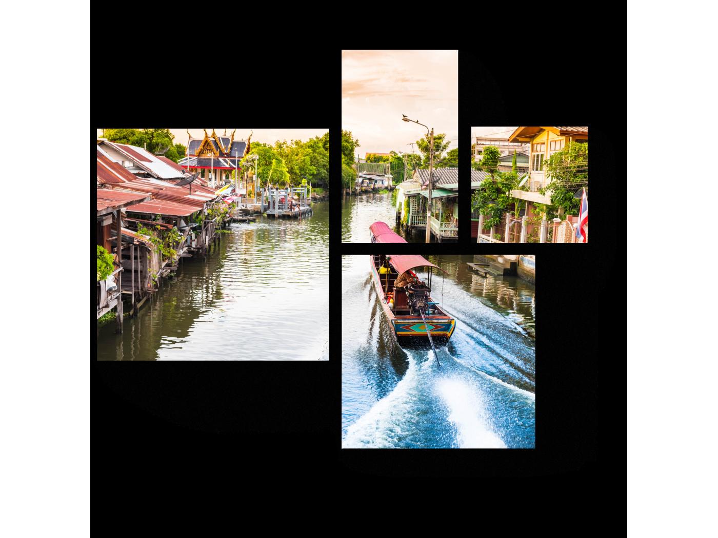 Модульная картина Путешествие по каналам Бангкока (72x60) фото