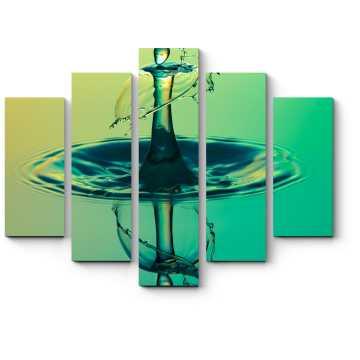 Модульная картина Изумрудная капля на воде