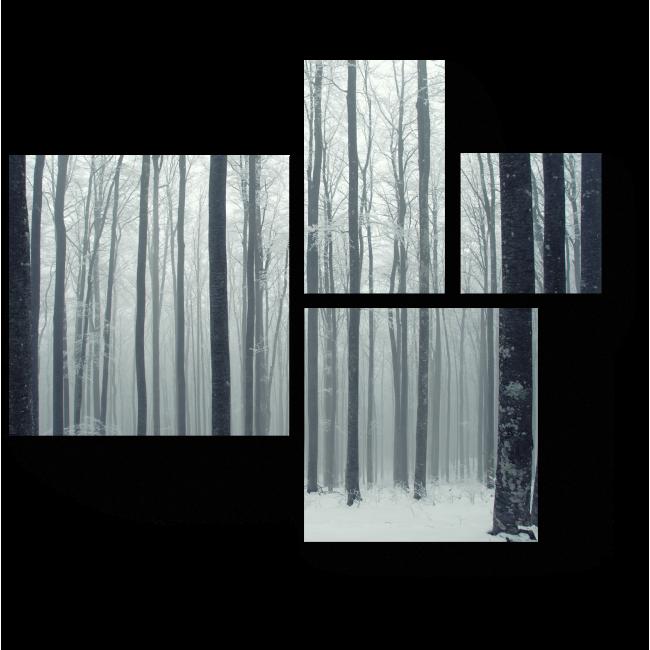 Модульная картина В зимнем лесу