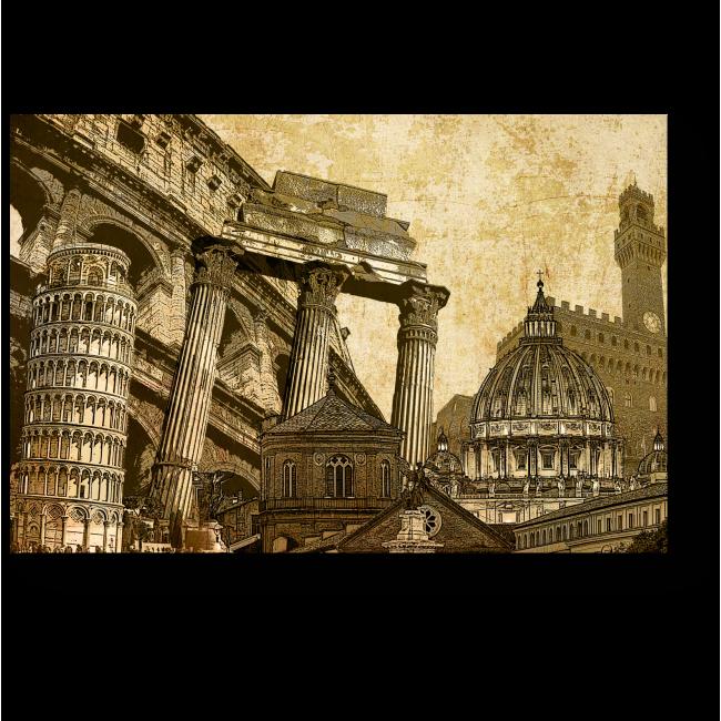 Модульная картина Достопримечательности Рима