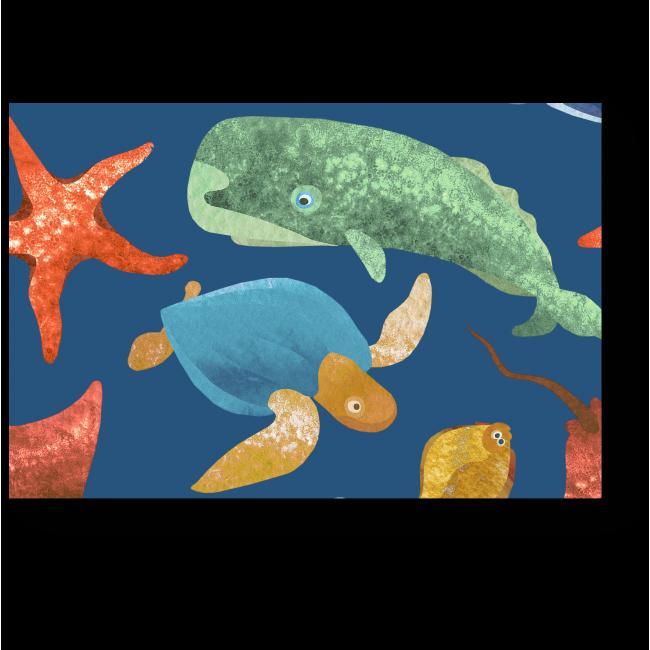Модульная картина Дружные морские обитатели