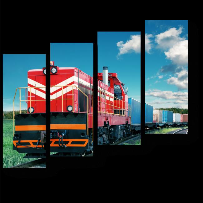 Модульная картина Красный поезд