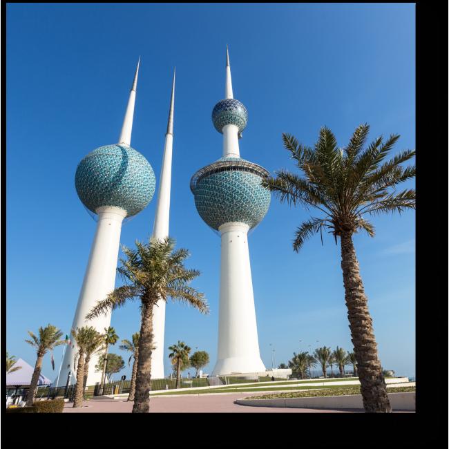 Модульная картина Кювейтские башни и пальмы
