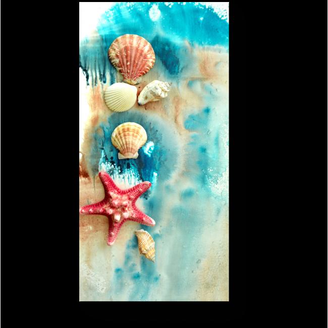 Модульная картина Морские обитатели на акварельном фоне