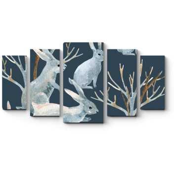 Модульная картина Акварельные зайцы
