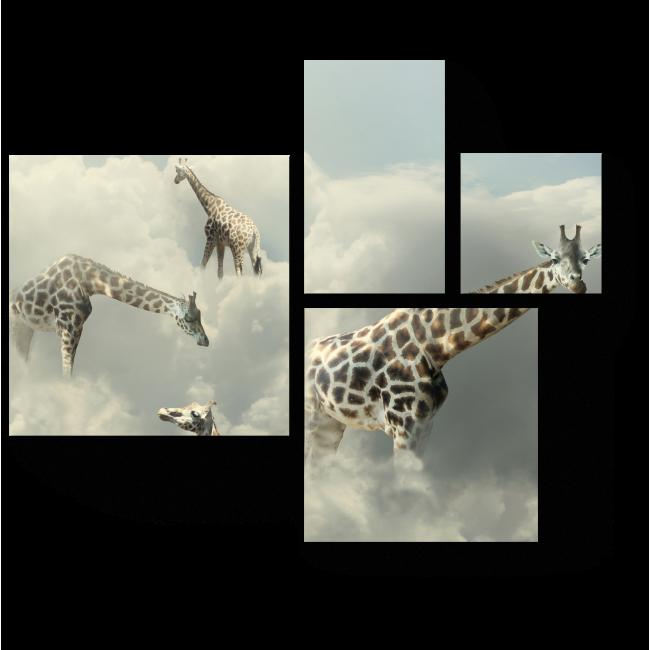 Модульная картина Жирафы в облаках