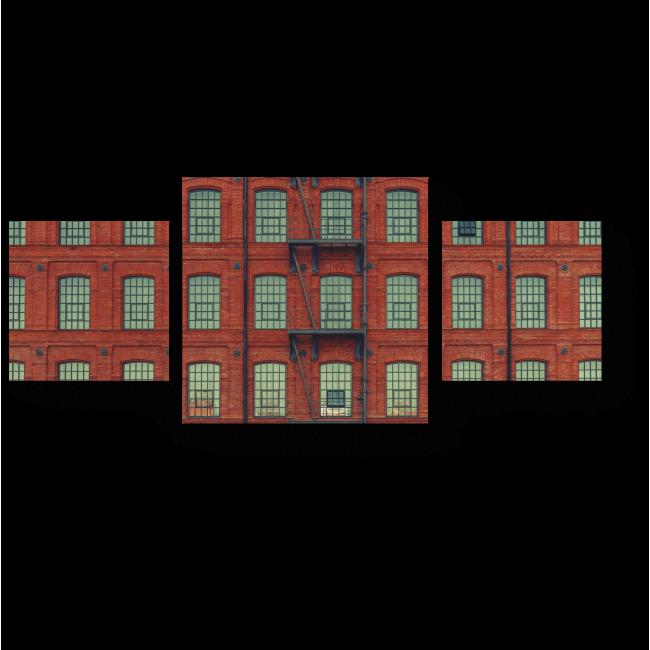 Модульная картина Красное здание с лестницей