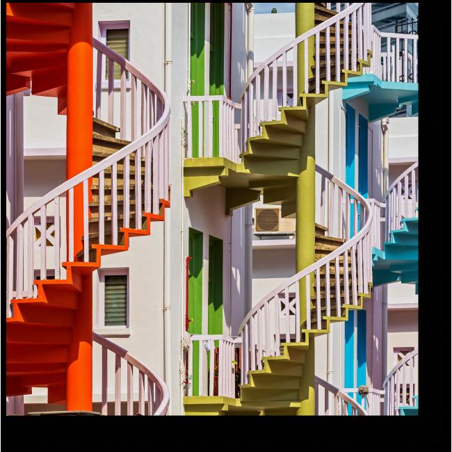 Модульная картина Яркие винтовые лестницы