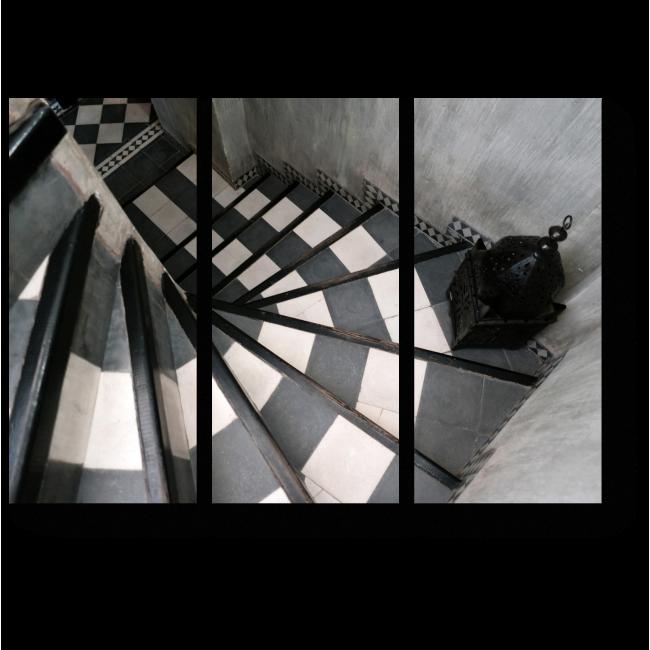 Модульная картина Черно-белая лестница