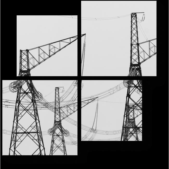 Модульная картина Электрические вышки