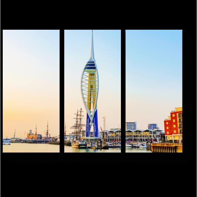 Модульная картина Башня в порту Портсмута, Англия