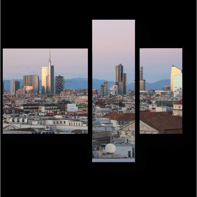 Модульная картина Панорама Милана с крыши Миланского собора