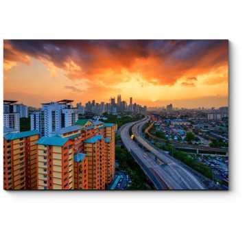 Пылающий закат над Куала-Лумпур