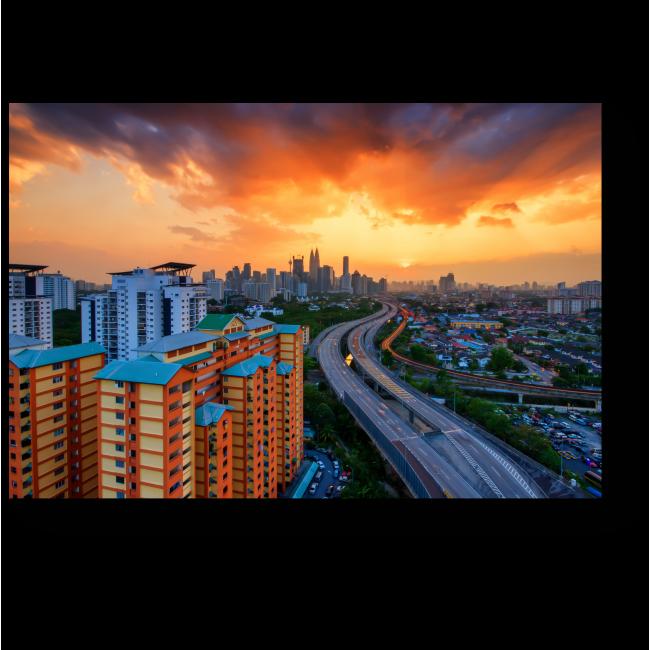 Модульная картина Пылающий закат над Куала-Лумпур