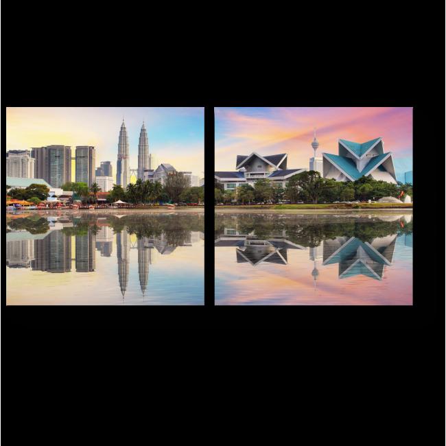 Модульная картина Пастельный закат в Куала-Лумпур