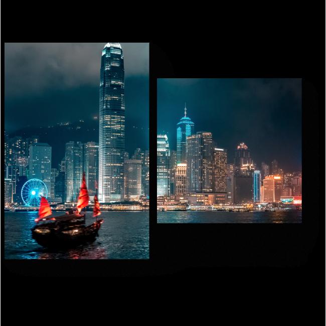 Модульная картина Ночные огни Гонконга