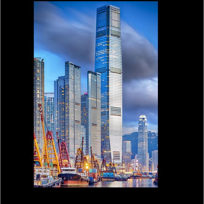 Модульная картина Небоскребы Гонконга на закате