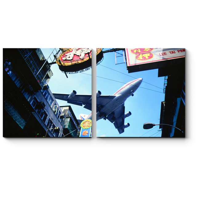 Модульная картина Самолет в небе над Гонконгом