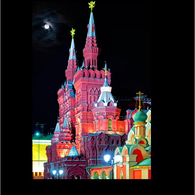 Модульная картина Красная площадь в ночь полной луны