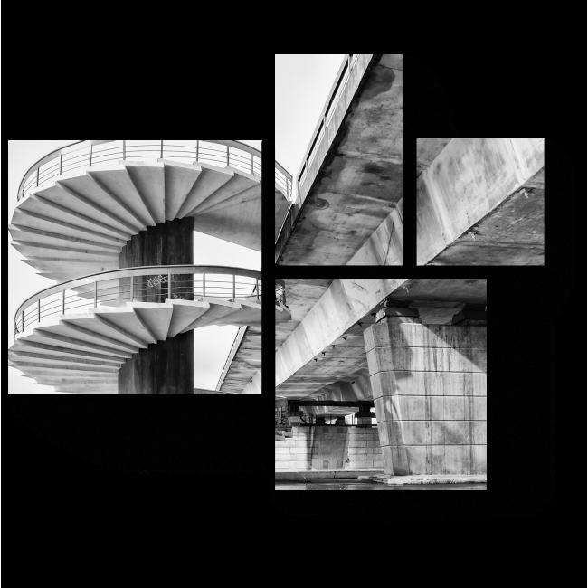 Модульная картина Спиральная лестница и мост