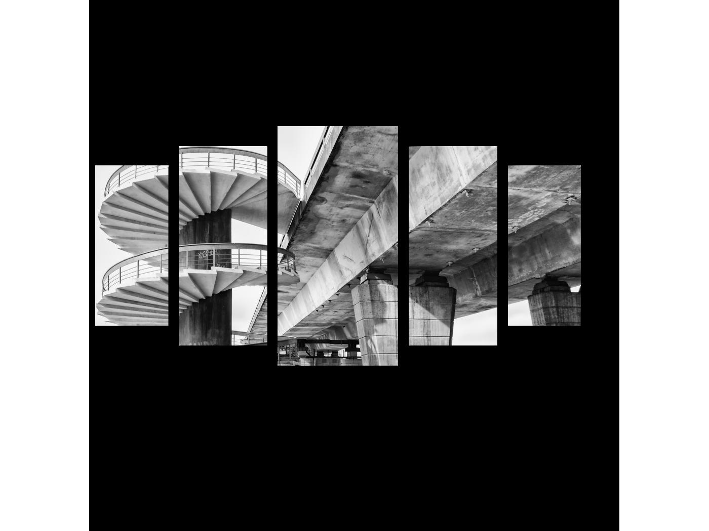Модульная картина Спиральная лестница и мост (100x55) фото