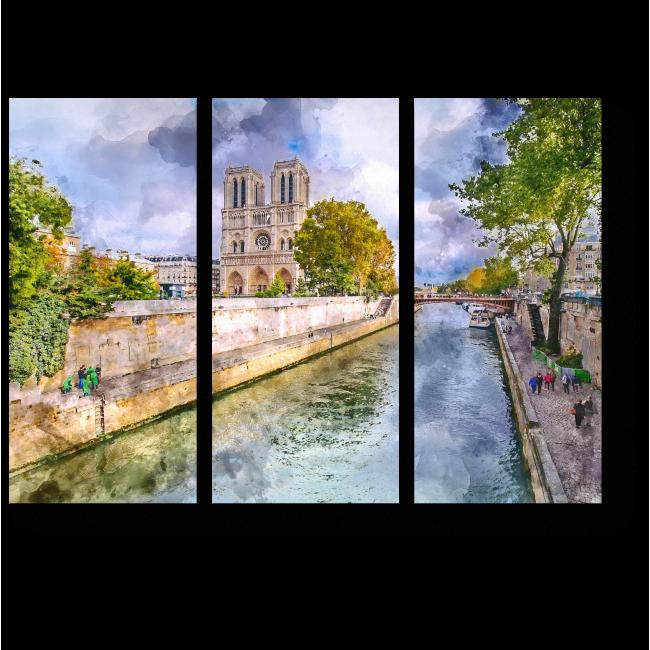 Модульная картина Акварельный Париж