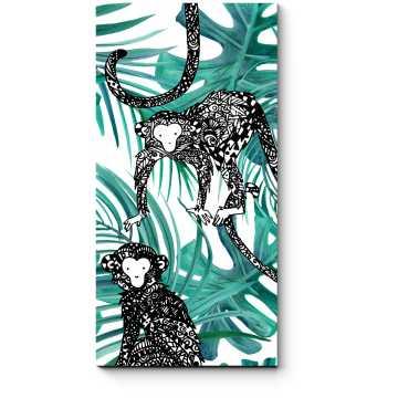 Модульная картина Артистичные обитатели джунглей