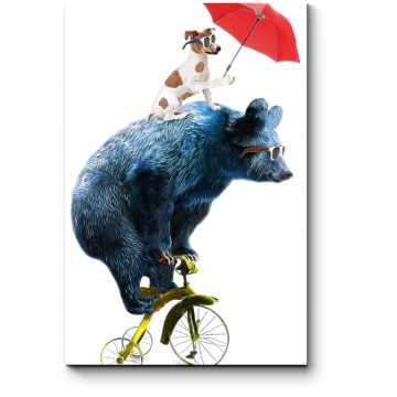 Модульная картина Стильный мишка на велосипеде