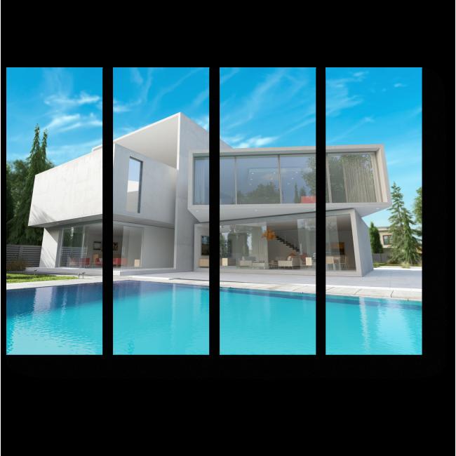 Модульная картина Современный дом с бассейном
