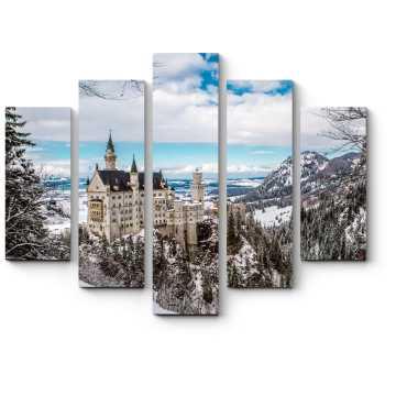 Замок Нойшванштайн в Германии зимой