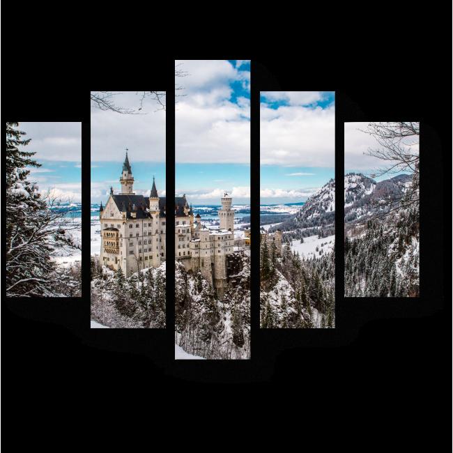 Модульная картина Замок Нойшванштайн в Германии зимой