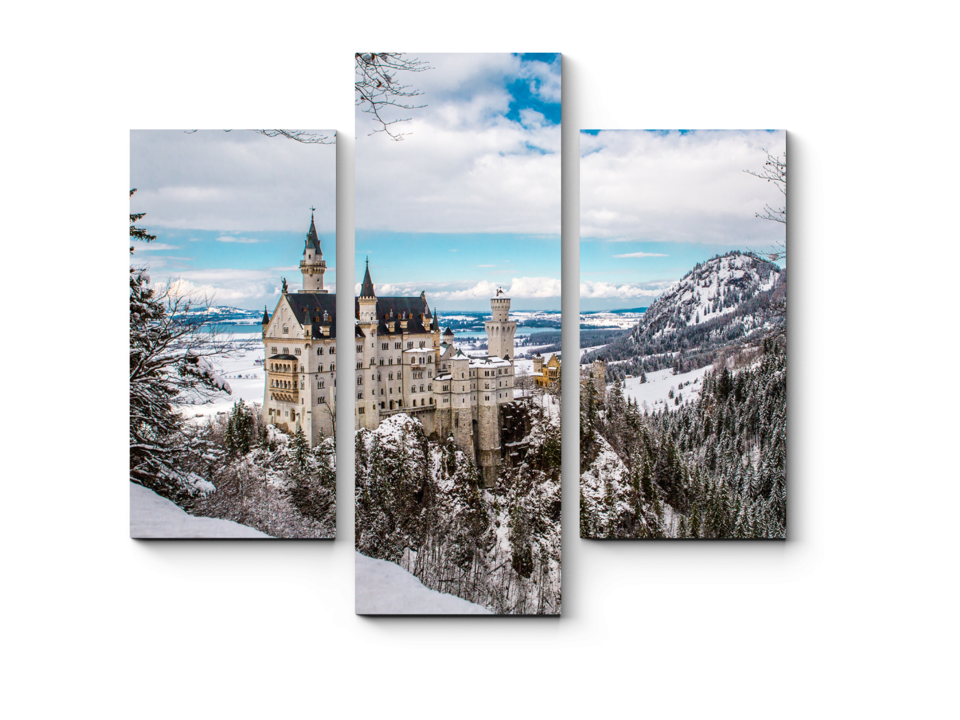 Модульная картина Замок Нойшванштайн в Германии зимой (60x54) фото