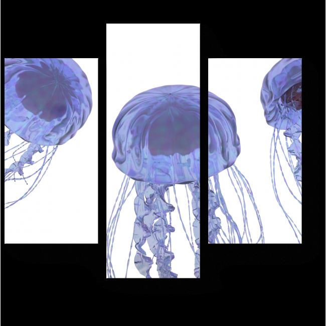 Модульная картина Пара голубоватых медуз