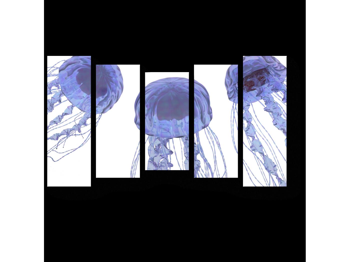 Модульная картина Пара голубоватых медуз (90x54) фото