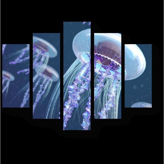 Модульная картина Парящие медузы